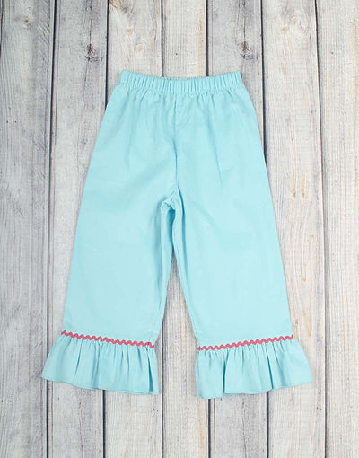 Smocked Aqua Eskimo Ruffle Pant Set - Girls - Stellybelly - 2