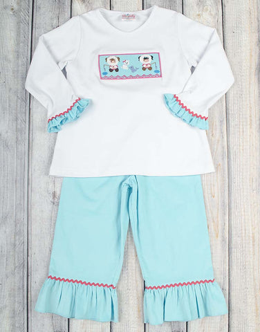 Smocked Aqua Eskimo Ruffle Pant Set - Girls - Stellybelly - 1