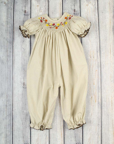 Fall Branch Smocked Long Bubble - Girls - Stellybelly - 1