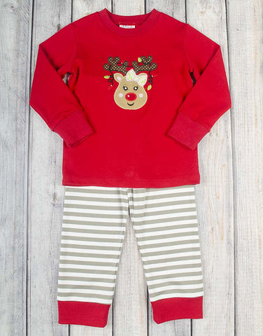 Festive Reindeer Applique Girls Loungewear - Girls - Stellybelly - 1