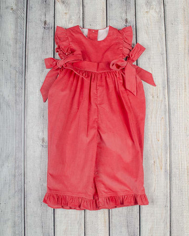 Flamingo Cord Ruffle Romper - Girls - Stellybelly - 1