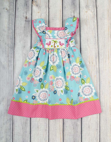 Boho Flamingo Peasant Ruffle Dress - Girls - Stellybelly - 1