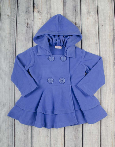 French Blue Fleece Peacoat - Girls - Stellybelly