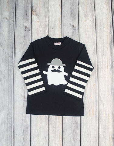 Gentleman Ghost Applique T-Shirt - Boys - Stellybelly - 1