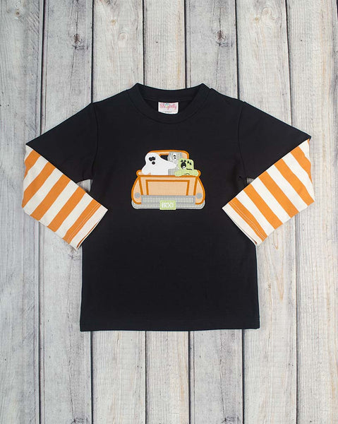 Ghost Truck Applique LS Shirt - Boys - Stellybelly - 1