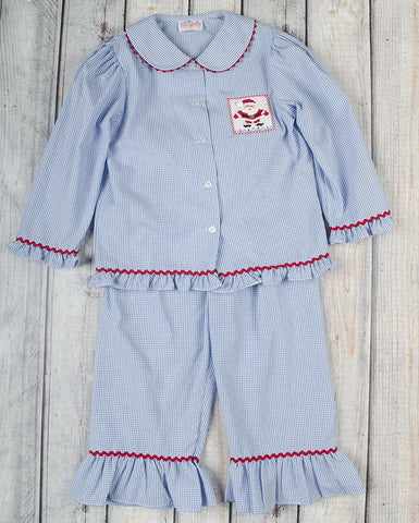 Smocked Blue Santa Girls Loungewear - Girls - Stellybelly - 1