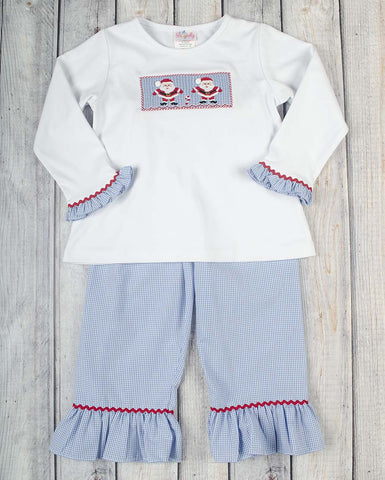 Smocked Blue Santa Girls Pant Set - Girls - Stellybelly - 1