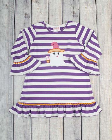 Girlie Ghost Applique Ruffle Dress - Girls - Stellybelly - 1