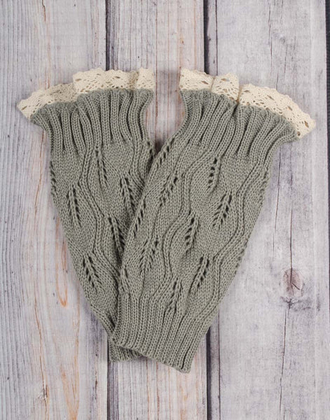 Gray Lace Boot Cuffs - Girls - Stellybelly
