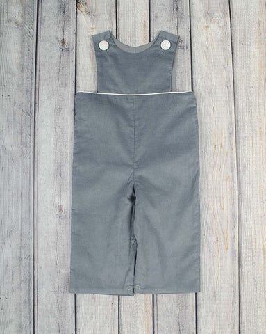 Gray Cord Bib Top Longall - Boys - Stellybelly - 1