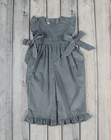 Gray Cord Ruffle Romper - Girls - Stellybelly - 1