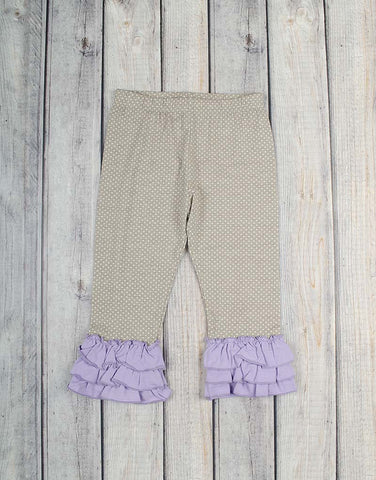 Gray Dot w/Lavender Knit Ruffle Capri - Girls - Stellybelly