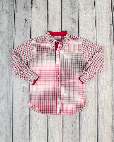 Gray/Red Plaid Button-Up LS Collared Shirt - Boys - Stellybelly - 1