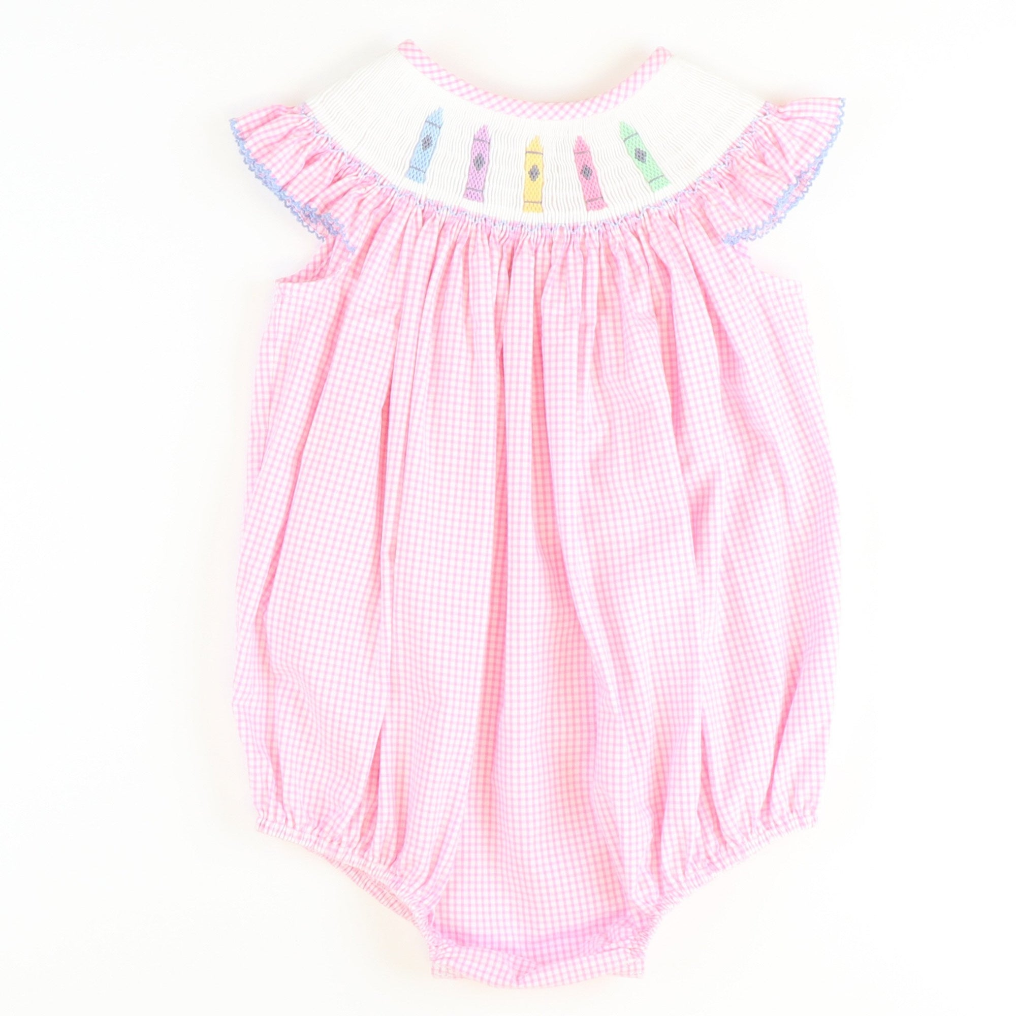 Smocked Crayons Girl Bubble - Light Pink Mini Check Seersucker - Stellybelly