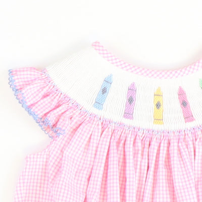 Smocked Crayons Bubble - Light Pink Mini Check Seersucker