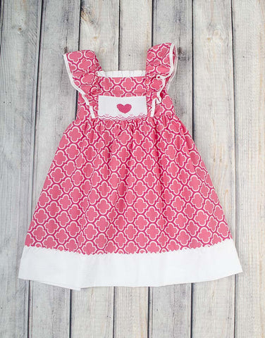 Smocked Pink Hearts Peasant Ruffle Dress - Girls - Stellybelly - 1