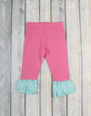 Hot Pink w/Aqua Dot Knit Ruffle Capri - Girls - Stellybelly - 1