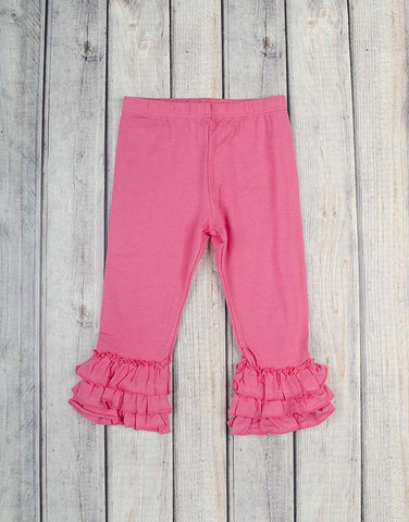 Hot Pink Knit Ruffle Capri - Girls - Stellybelly
