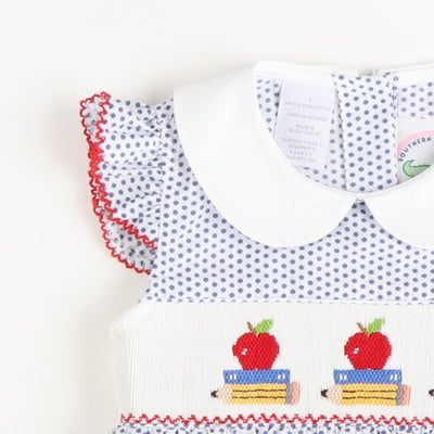 Smocked Apples & Books Bubble - Blue Dot