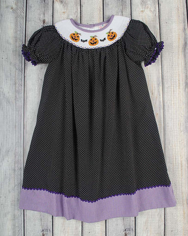 Jack-O-Lantern Smocked Bishop - Girls - Stellybelly - 1