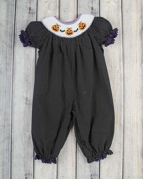 Jack-O-Lantern Smocked Long Bubble - Girls - Stellybelly - 1