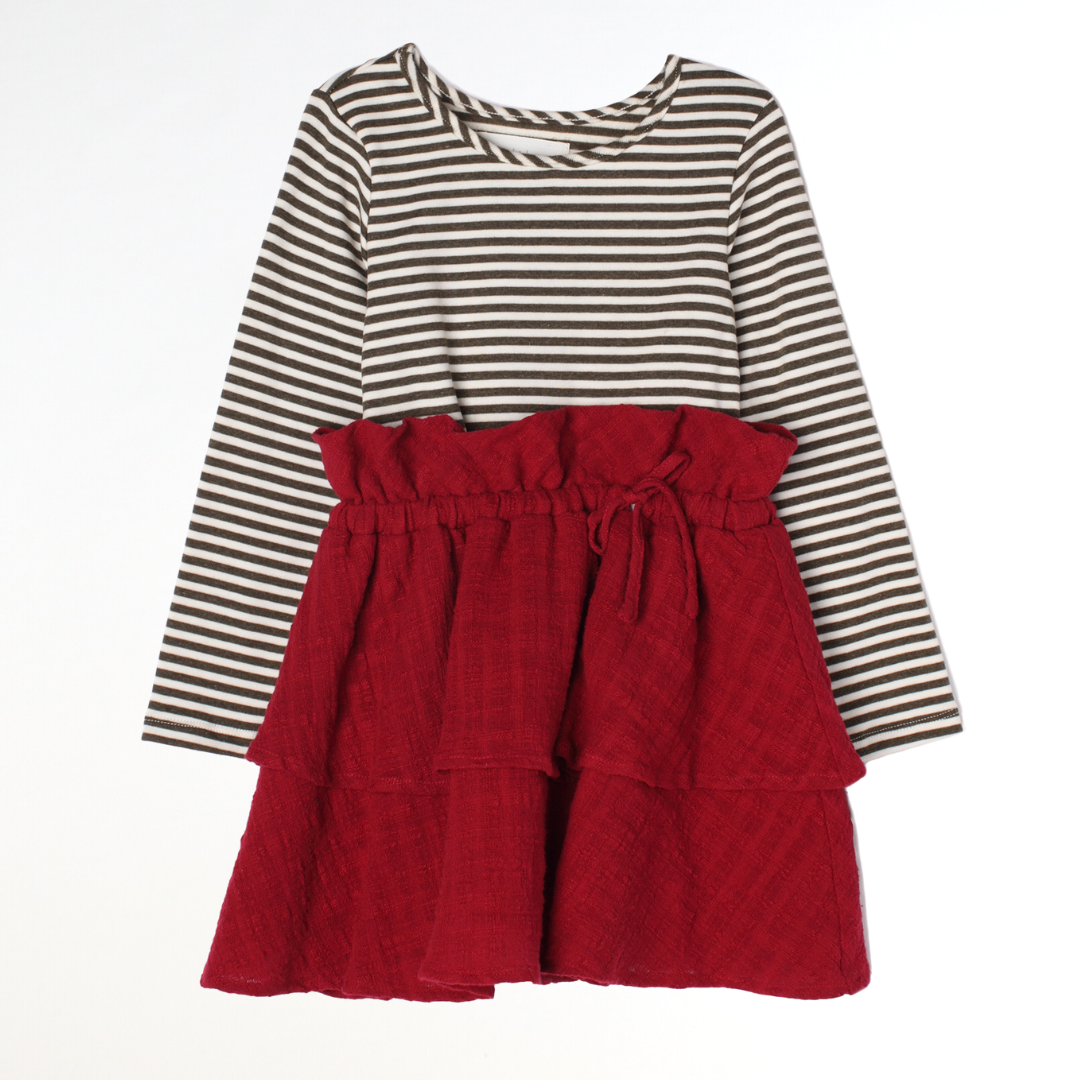 Striped Top & Red Skirt Set