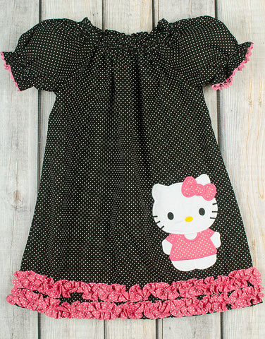 Kitty Applique Puff Sleeve Dress - Girls - Stellybelly