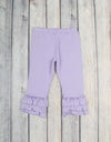Lavender Knit Ruffle Capri - Girls - Stellybelly - 1