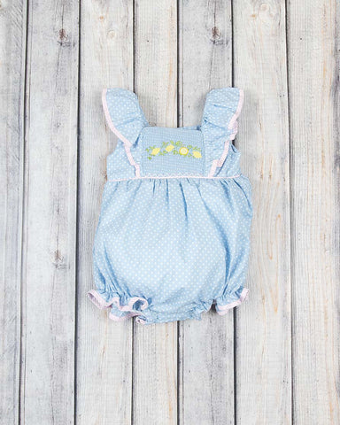 Smocked Lemon Vine Peasant Bubble - Girls - Stellybelly - 1