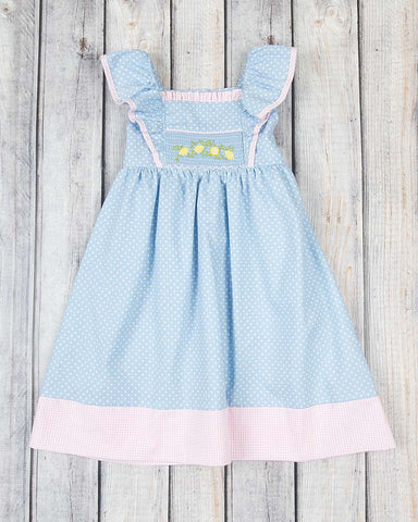 Smocked Lemon Vine Peasant Dress - Girls - Stellybelly - 1