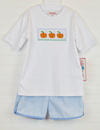 Smocked Pumpkin Shirt & Light Blue Gingham Short Set