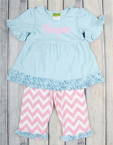 Baby Blue/Light Pink Chevron Sophia Legging Set - Girls - Stellybelly