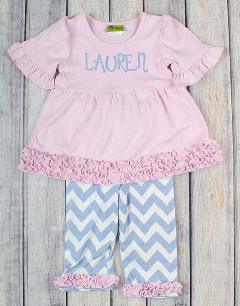 Light Pink/Blue Chevron Sophia Legging Set - Girls - Stellybelly