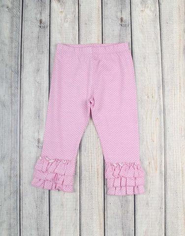 Light Pink White Dot Knit Ruffle Capri - Girls - Stellybelly