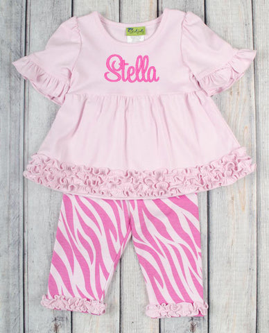 Light Pink/Hot Pink Zebra Sophia Legging Set - Girls - Stellybelly - 1