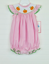Smocked Pumpkin Pink Gingham Bubble