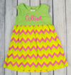 Green Multi-Chevron Kelly Dress - Girls - Stellybelly - 2