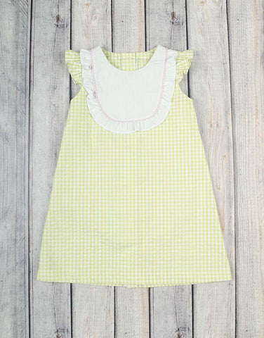 Lime Check Seersucker Jordan Dress - Girls - Stellybelly - 1