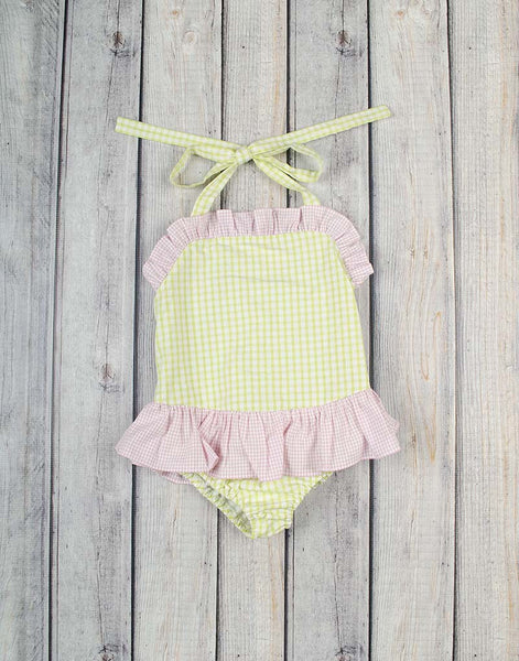 Lime Check Seersucker One-Piece Swimsuit - Girls - Stellybelly - 1