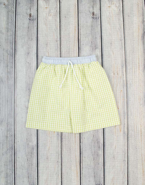 Lime Check Seersucker Swim Trunks - Boys - Stellybelly - 2