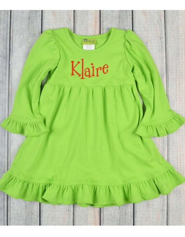 Lime Kamry Long Sleeve Ruffle Dress - Girls - Stellybelly