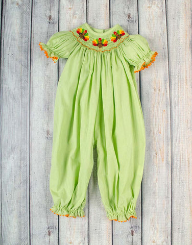 Lime Turkey Smocked Long Bubble - Girls - Stellybelly - 1