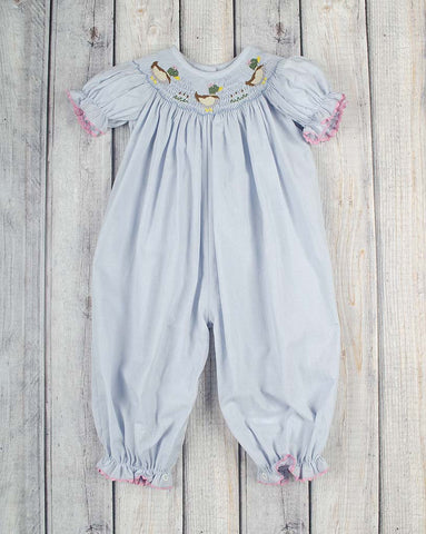 Blue Mallard Smocked Long Bubble - Girls - Stellybelly - 1
