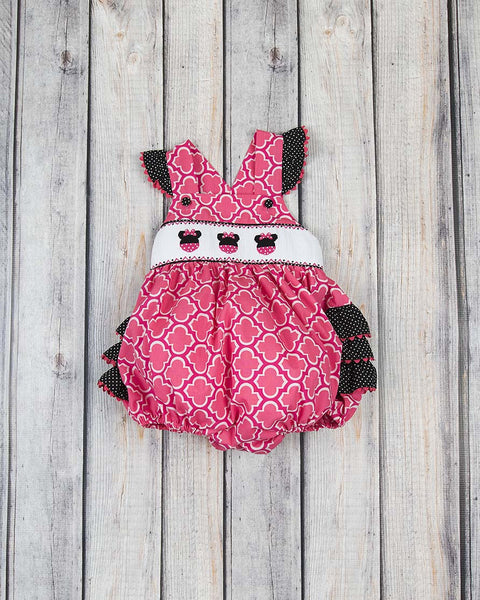 Smocked Mouse Ears Ruffle Bubble - Girls - Stellybelly - 1