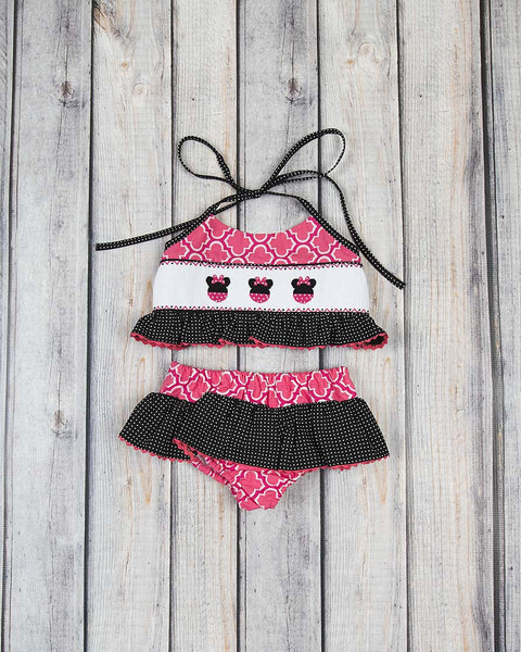 Smocked Mouse Ears Two Piece Swimsuit - Girls - Stellybelly - 1