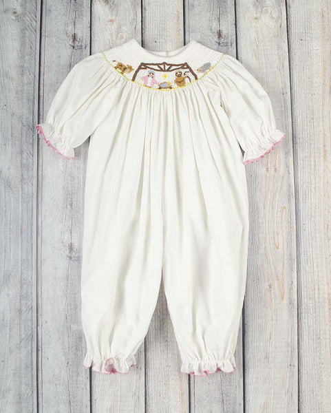 Smocked White Nativity Long Bubble - Girls - Stellybelly - 1