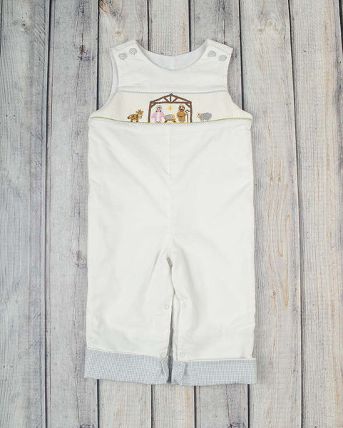 Smocked White Nativity Longall - Boys - Stellybelly - 1