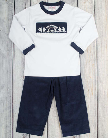 Smocked Navy Nativity Pant Set - Boys - Stellybelly - 1