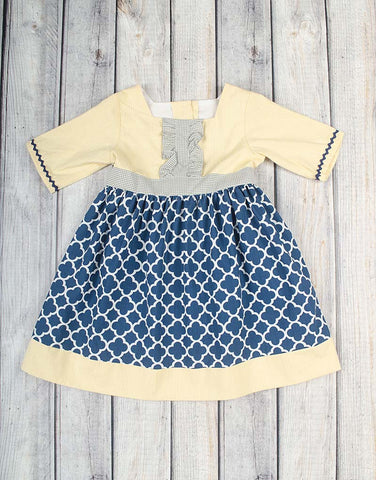 Navy Arabesque Zoey Dress - Girls - Stellybelly - 1