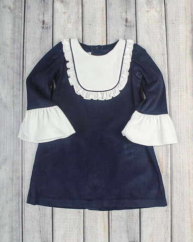 Navy Cord Jordan Ruffle Dress - Girls - Stellybelly - 1